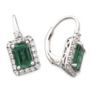 Lab-Created Emerald & White Sapphire Earrings