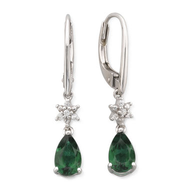 jcpenney.com | Lab Created Emerald & White Sapphire Drop Earrings