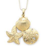 14K Gold Over Sterling Silver Sealife Pendant