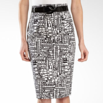 Worthington® Belted High-Waist Print Sateen Skirt