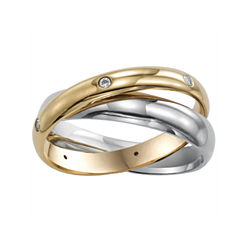 BEST VALUE! Womens 3mm Two-Tone Stainless Steel Rolling Ring