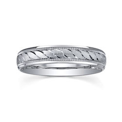 BEST VALUE! Womens 4mm Swirled Silver Wedding Band Ring