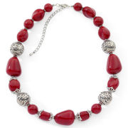 Red and Silver-Tone Beaded Necklace