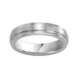 BEST VALUE! Men's 5mm Milgrain-Edge Ring in Cobalt