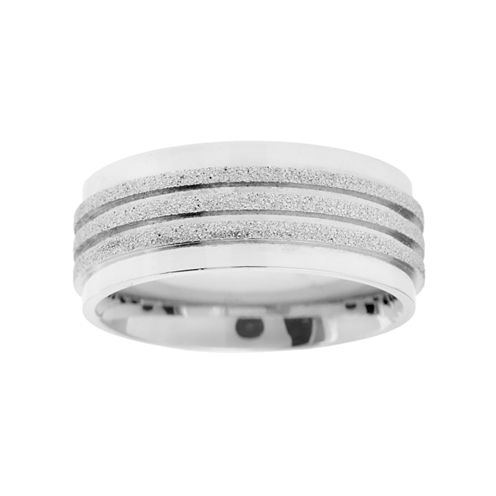 Mens 3-Row Stainless Steel Ring