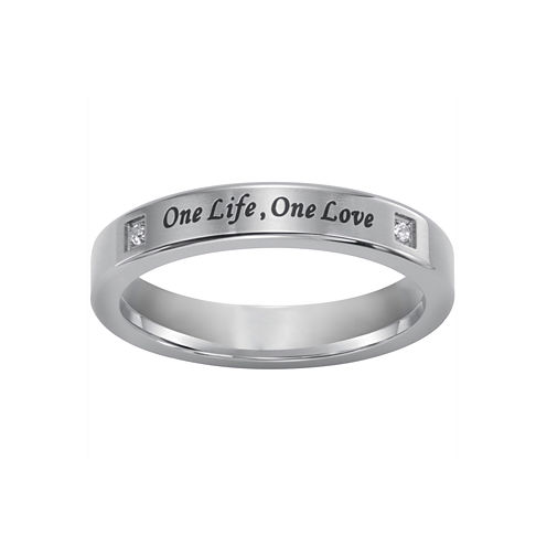 """One Life, One Love"" Silver Ring w/Diamond Accents"