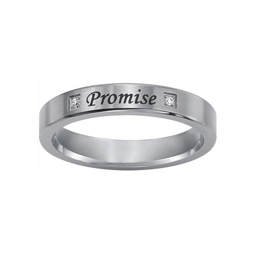"""Promise"" Sterling Silver Ring w/ Diamond Accents"