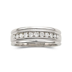 Mens 1/4 CT. T.W. Diamond Ring Milgrain Sterling Silver