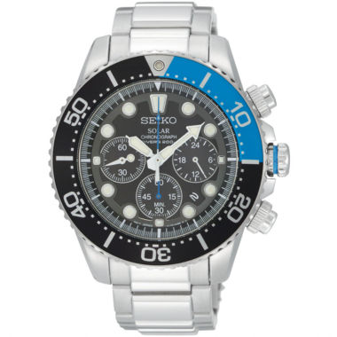 jcpenney.com | Seiko® Mens Black Dial Two-Tone Stainless Steel Dive Solar Watch SSC017