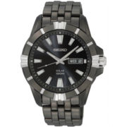 Seiko® Men's Black Solar Powered Watch