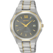 Seiko® Mens Two-Tone Stainless Steel Watch SNE166
