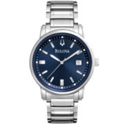 Bulova Mens Blue-Dial Silver-Tone Watch