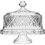 Dublin by Godinger Crystal 4-in-1 Cake Plate with Dome Cover