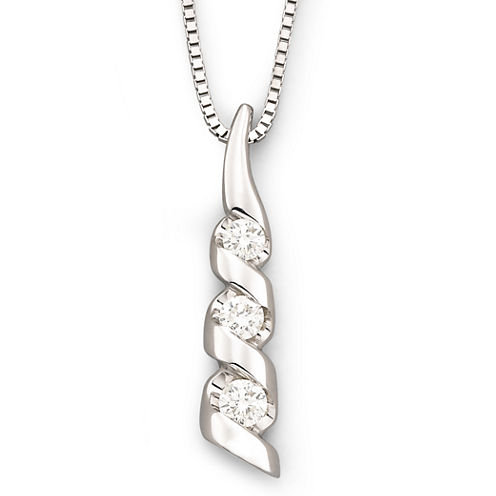 Sirena® 1/8 CT. T.W. Diamond 14K White Gold 3-Stone Pendant Necklace