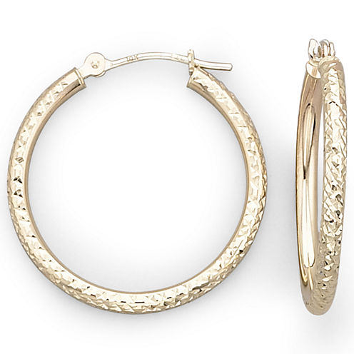 10K Gold Diamond-Cut Hoop Earrings