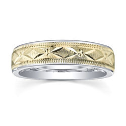 BEST VALUE! Wedding Band, Mens 6mm 10K/SS
