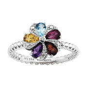 Sterling Silver Multi-Gemstone Stackable Ring