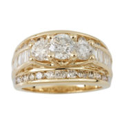3 CT. T.W. Certified Diamond 14K Gold Bridal Ring Set