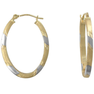 jcpenney.com | 14K Gold Hoop Earrings, Two-Tone Oval