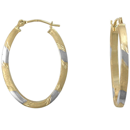 14K Gold Hoop Earrings, Two-Tone Oval