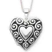 Sterling Silver Antique-Look Heart Locket Pendant