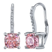 Diamonore™ Pink Simulated Diamond Drop Earrings