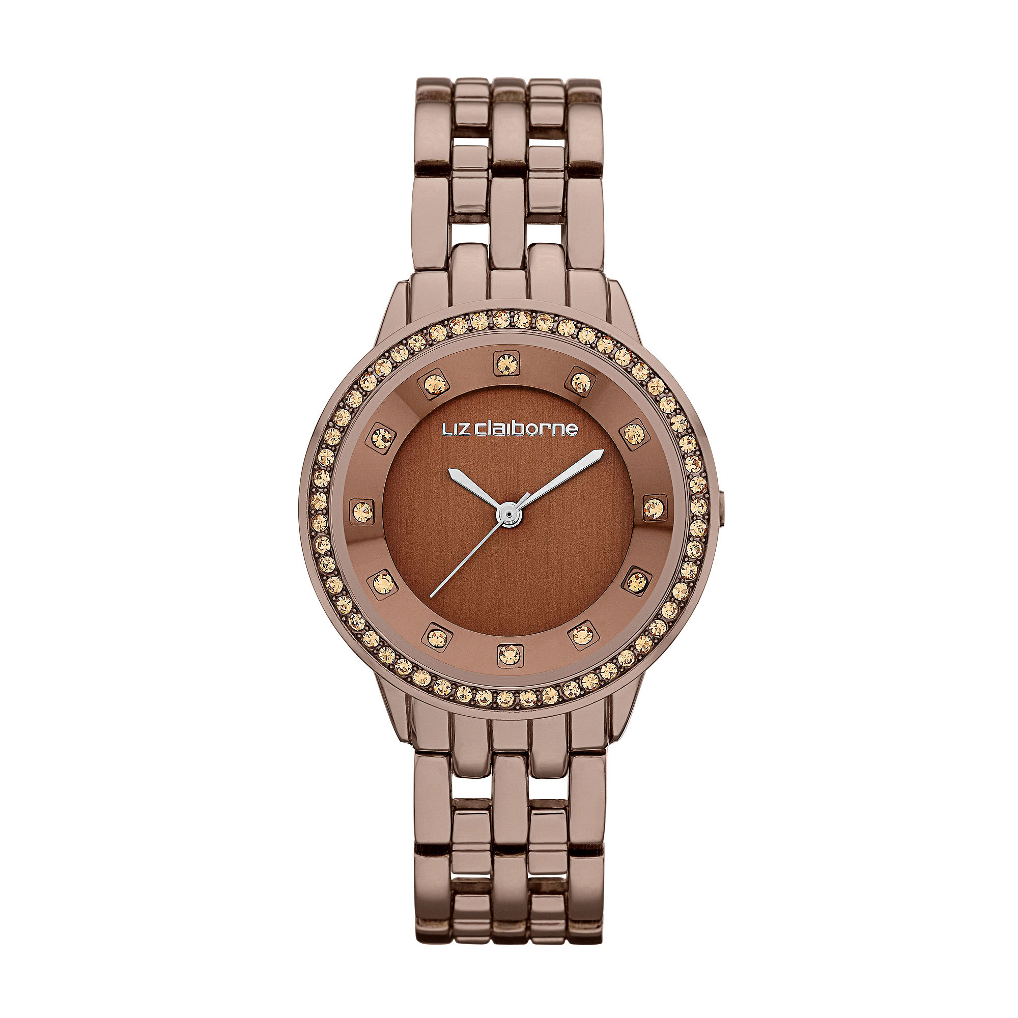 Liz Claiborne Ladies Brown Watch with Crystals