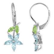 Sterling Silver Peridot & Blue Topaz Flower Earrings