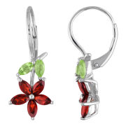 Sterling Silver Peridot & Garnet Flower Earrings