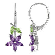Sterling Silver Peridot & Amethyst Flower Earrings