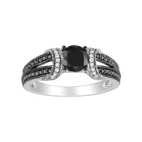 Midnight Black Diamond 1 CT. T.W. Black & White Bridal Ring In 10K White Gold