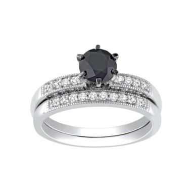 jcpenney.com | Midnight Black Diamond 1 1/3 CT. T.W. Diamond Bridal Ring Set