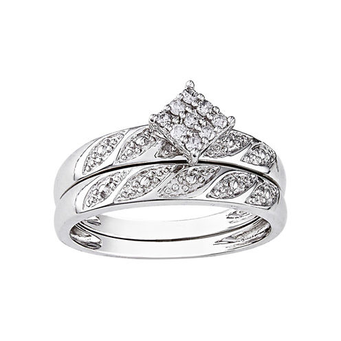 1/10 CT. T.W. Diamond Bridal Ring Set, Sterling Silver