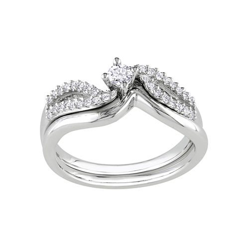 1/4 CT. T.W. Diamond Bridal Ring Set-Silver