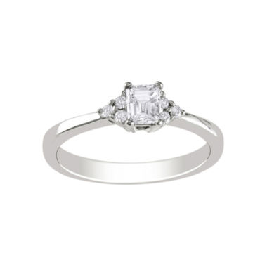 jcpenney.com | 1/2 CT. T.W. Emerald-Cut Diamond Bridal Ring In 14K White Gold