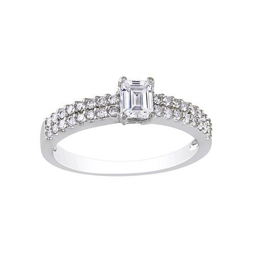 3/4 CT. T.W. Emerald-Cut Diamond Bridal Ring 14K White Gold