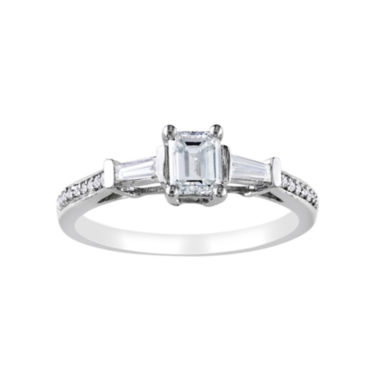 jcpenney.com | 3/4 CT. T.W. Emerald-Cut Diamond Bridal Ring In 14K White Gold