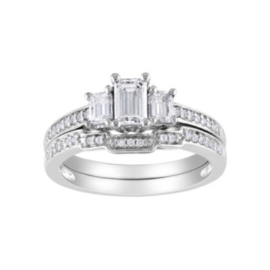 jcpenney.com | 1 CT. T.W. Emerald-Cut Bridal Set 14K White Gold
