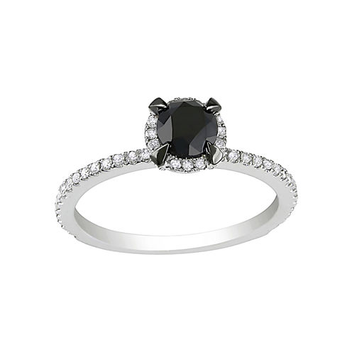Midnight Black Diamond 1 1/2 CT. T. W. Color-Enhanced Black & White Diamond Bridal Ring