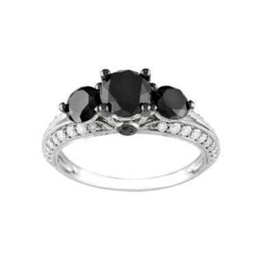 jcpenney.com | Midnight Black Diamond 2 CT. T.W. White & Color-Enhanced Black Diamond 10k White Gold 3-Stone Ring