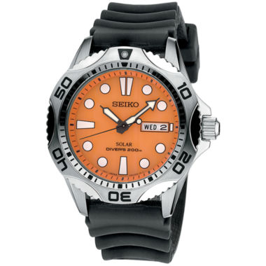 jcpenney.com | Seiko® Mens Orange Dial Black Silicone Dive Solar Watch SNE109