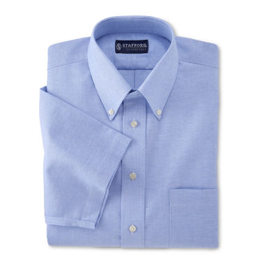 jcpenney.com | Stafford® Travel Short-Sleeve Wrinkle-Free Oxford Shirt–Big & Tall