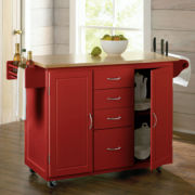 Hill Country Rolling Kitchen Cart with Knife Block