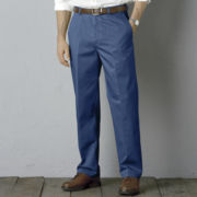 Haggar® Work to Weekend® No–Iron Flat Front Denim Pants–Big & Tall