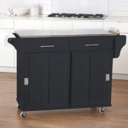 Sliding-Door Kitchen Cart with Stainless Steel Top