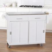 Sliding-Door Kitchen Cart with Stainless Steel Top