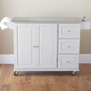 Sundance Rolling Kitchen Cart with Stainless Steel Top and Towel Rack