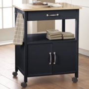Raleigh Rolling Kitchen Cart with Towel Hooks