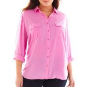 a.n.a® Button-Front Shirt - Plus