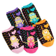 Despicable Me 5-pk. Minions No-Show Socks - Girls